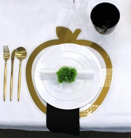 Lucite apple gold border table chargers s/4