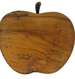 Teak apple plate with twig spoons s/2
