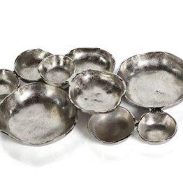 Cluster of 9 nickel platter
