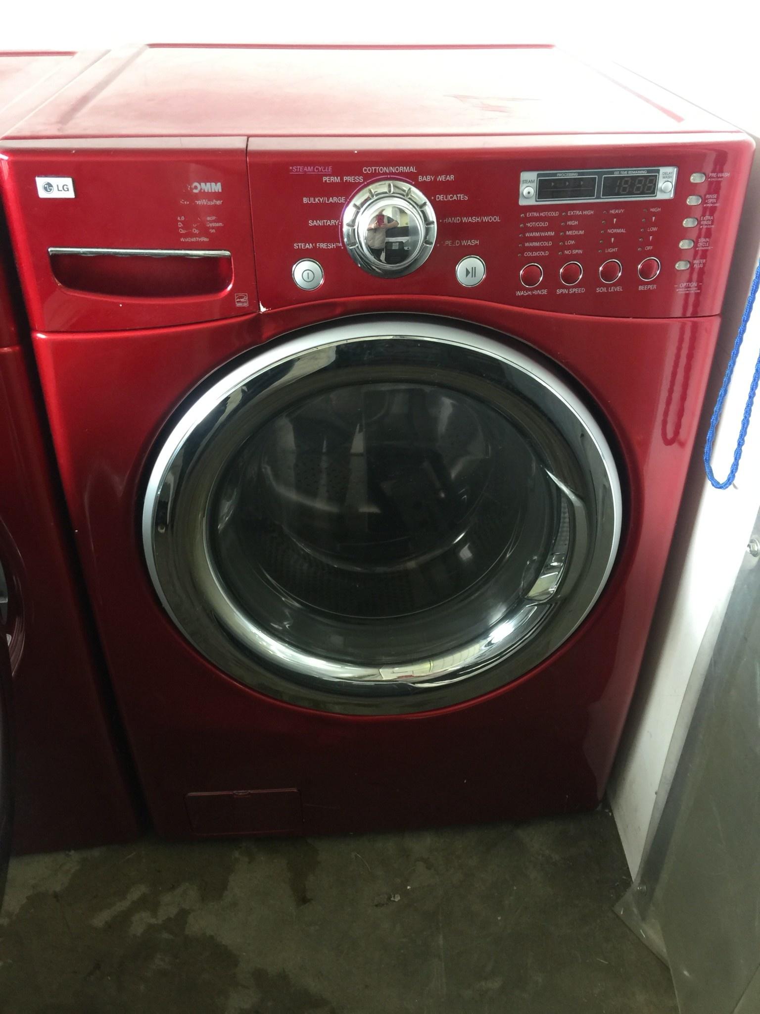Lg Lg Tromm Front Load Steam Washing Machine In Red