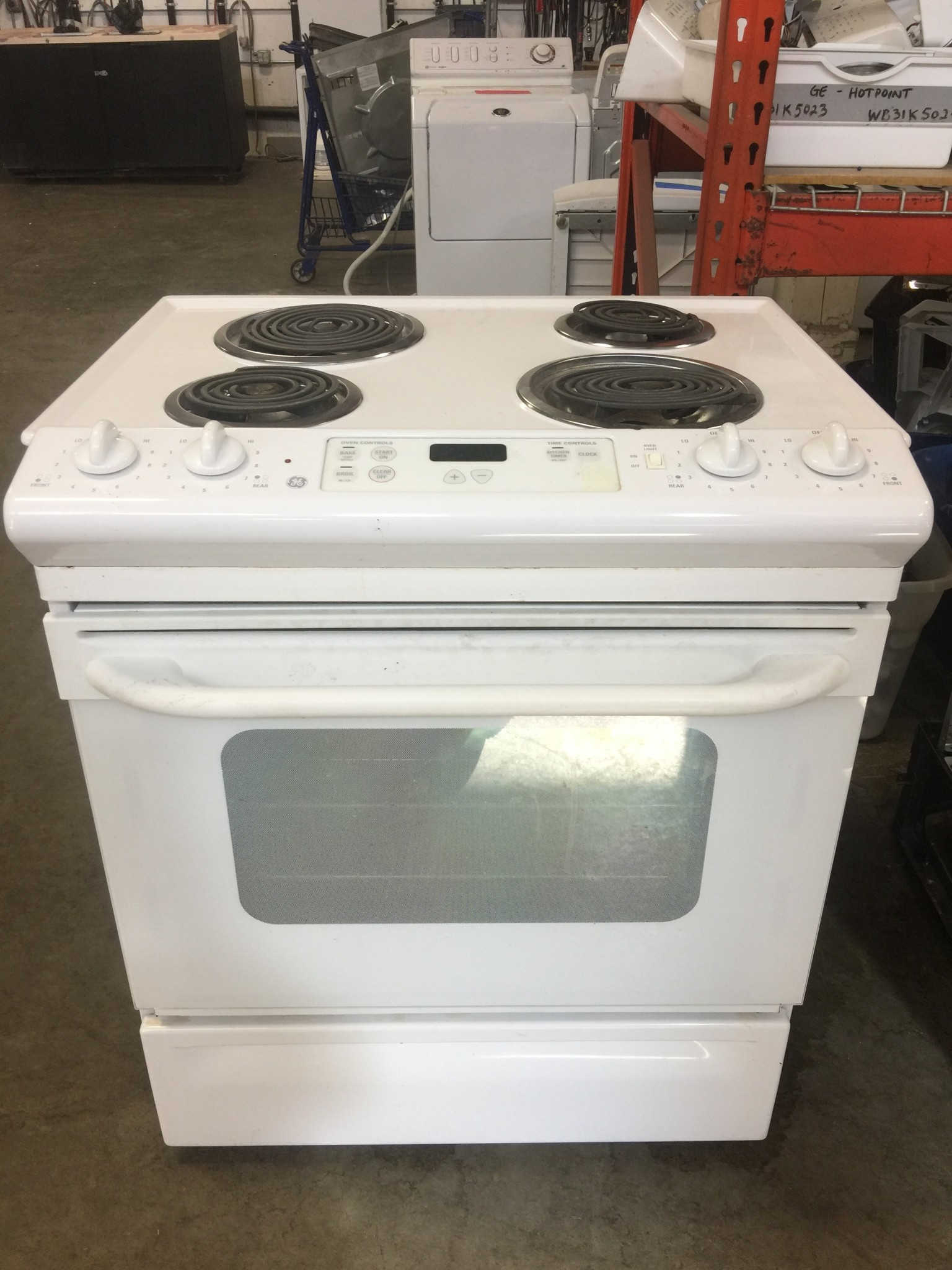 Ge Ge Coil Top Slide In White Range Discount City Appliance