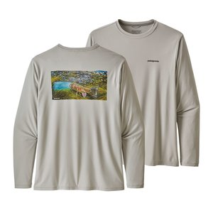 Patagonia M's L/S Cap Cool Daily Fish Graphic Shirt Underwater: Tailored Grey