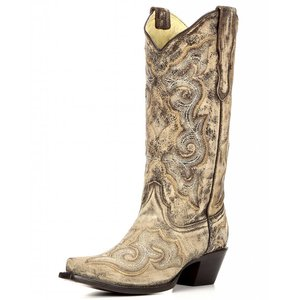 Corral E1004 Ladies Distressed Brown/Chocolate Embroidery