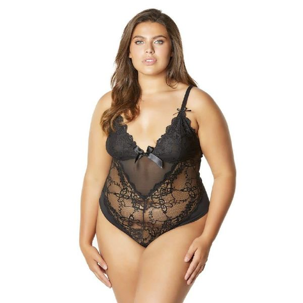 Oh La La Cheri Soft Cup Teddy With Lace Detail - Curvy