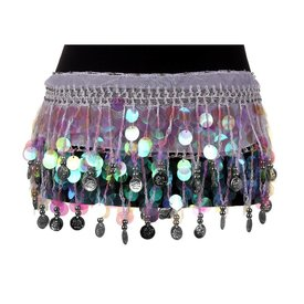 Groove Iridescent Coin Skirt Crochet White
