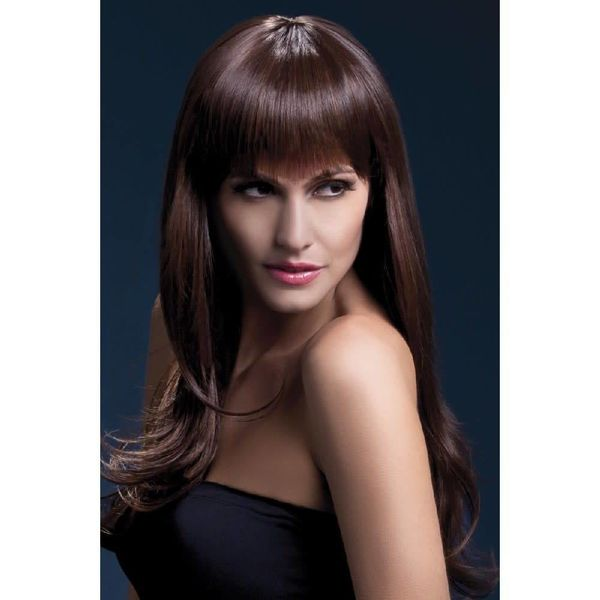 Fever/Smiffys Sienna Wig Long Feathered - Brown
