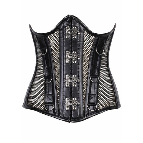 Steel Bone Fishnet and Faux Leather Under Bust Corset