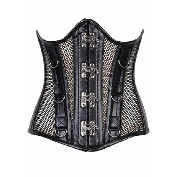 Groove Steel Bone Fishnet and Faux Leather Under Bust Corset