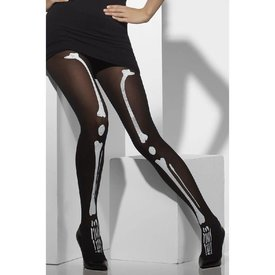 Fever/Smiffys Opaque Skeleton Print Tights
