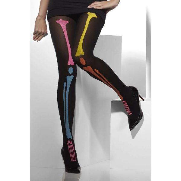 Fever/Smiffys Black Neon Skeleton Tights