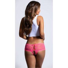 Seven 'til Midnight Lace Up Back Crotchless Panty Coral