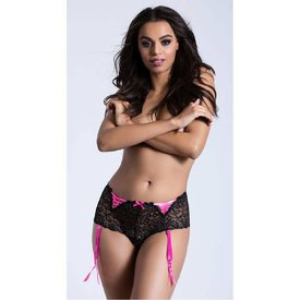 Seven 'til Midnight Crotchless Lace Boyshort with Garters