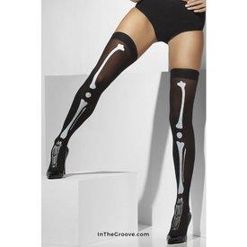 Fever/Smiffys Skeleton Print Stay-up Thigh Hi Stockings