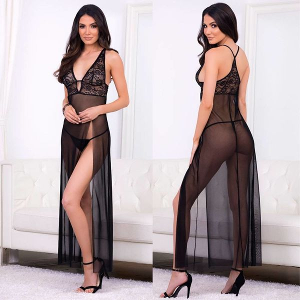 Escante Lace and Mesh High Slit Long Gown
