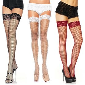 Leg Avenue Stay Up Lycra Industrial Fishnet Thigh High One-size