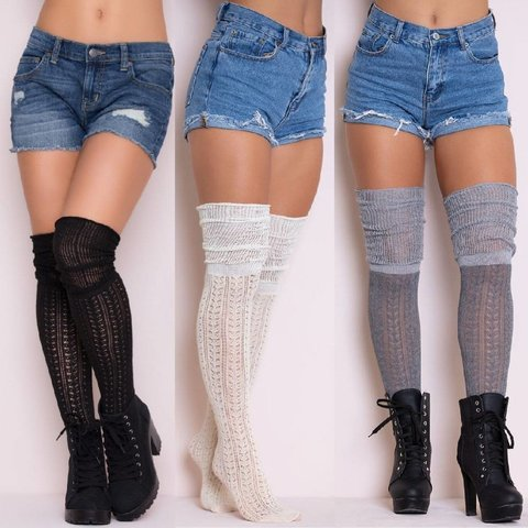 Cozy Patterned Thigh High Stockings One-size