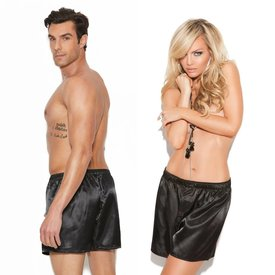 Elegant Moments Charmeuse Unisex Satin Boxer Black