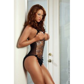 G World  Intimates Cupless and Crotchless Metallic Lace Teddy