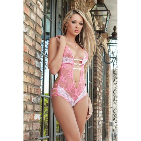 Lace Teddy w/Heart Charms Pink One-Size