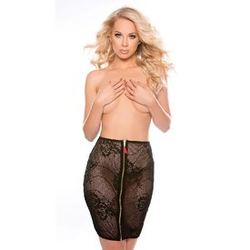 Naughty Sheer Mesh and Lace Pencil Skirt