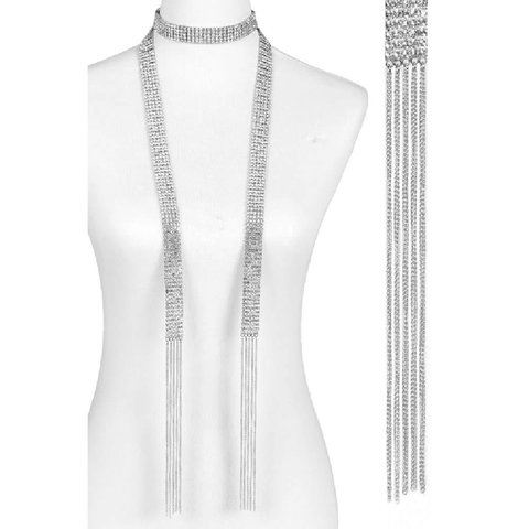 Lariat 5 Row 50-inch Necklace Silver