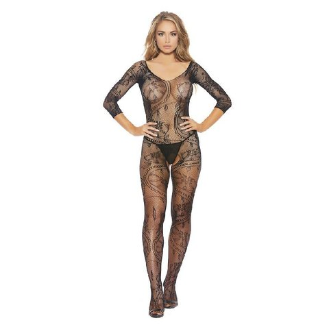 Lace and Fishnet Full Body Crotchless Bodystocking