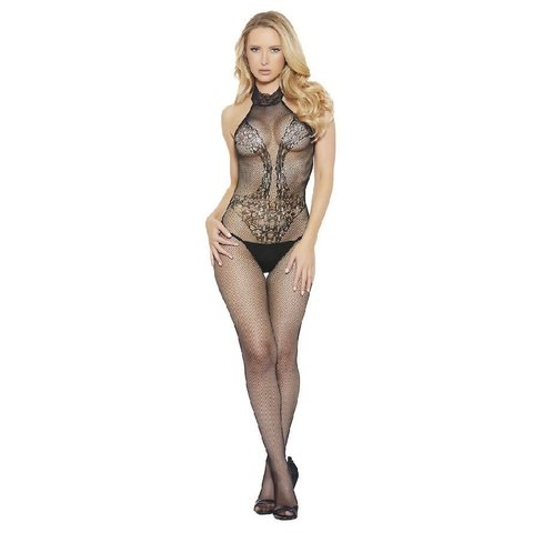 High Neck Fishnet and Lace Bodystocking