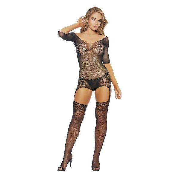Popsi Fishnet and Lace Bodystocking with Legs