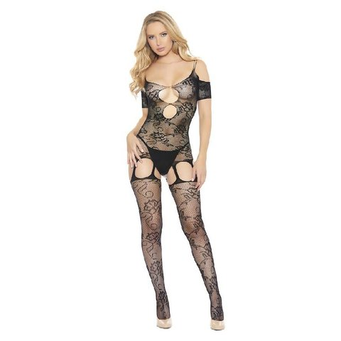 Cold Shoulder Fishnet and Lace Bodystocking