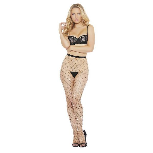 Popsi Large Tear Rhinestone Fishnet Pantyhose