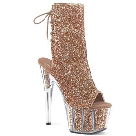 "Pleaser Glitter Gold 7"" Stiletto Platform Lace-Up Ankle Boot"