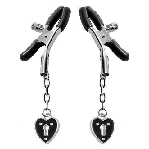 Heart Padlock Nipple Clamps - Black
