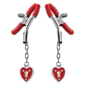 XR Brand Heart Padlock Nipple Clamps - Red