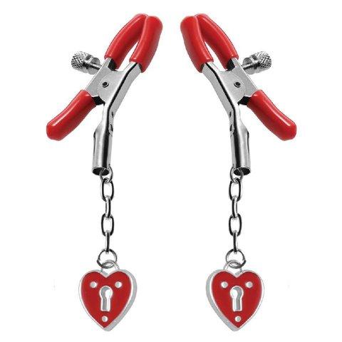Heart Padlock Nipple Clamps - Red