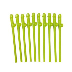 Pipedream Bachelorette Glow-In-The-Dark Dicky Sipping Straws - 10 Piece