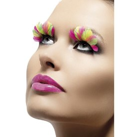 Fever/Smiffys Eyelashes Multi-color Neon Plumes