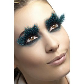 Fever/Smiffys Eyelashes Large Plumes Aqua Dots Black