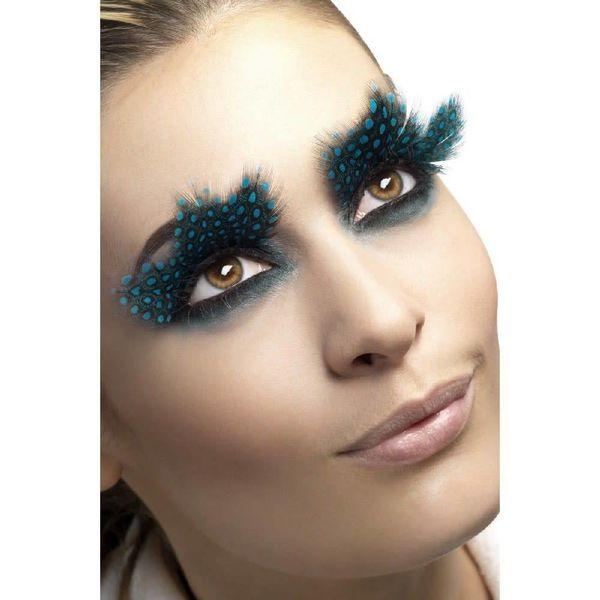 Fever/Smiffys Eyelashes Large Plumes Aqua Dots Black