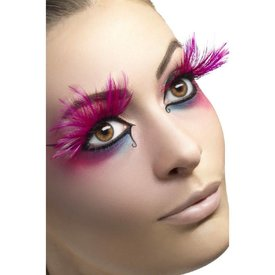 Fever/Smiffys Eyelashes Pink with Feather Plumes