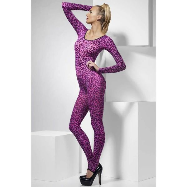 Fever/Smiffys Cheetah Print Bodysuit Pink  - One Size