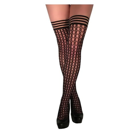 Mimi Diamond-pattern Thigh Hi Stay-ups - Black