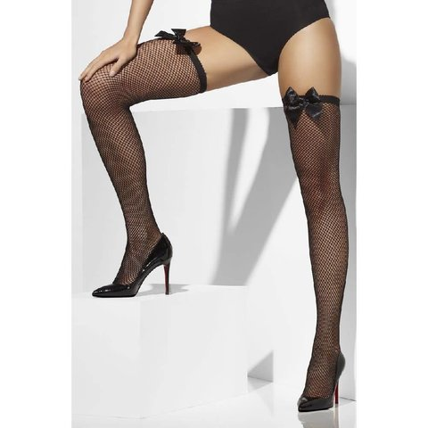 Fishnet Stay-Ups With Bows - Black