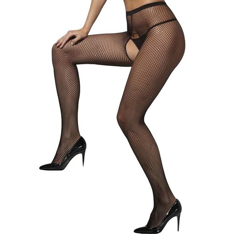 Fishnet Tights Crotchless One Size - Black