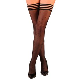 Kixies Ally Sheer Polka-dot Thigh Hi Stay-ups - Black