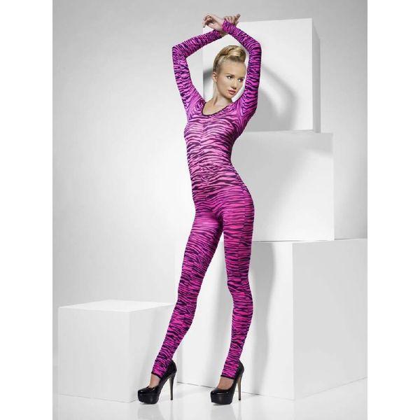 Fever/Smiffys Zebra Print Bodysuit Pink - One Size Fits Most