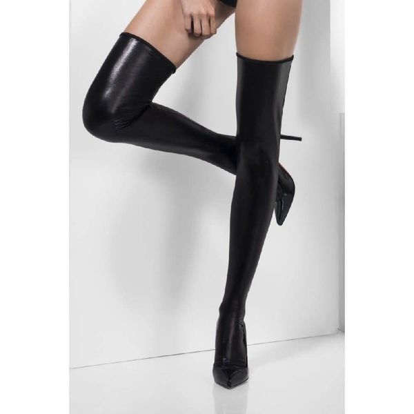 Fever/Smiffys Wet Look Stay-up Thigh Hi Stockings