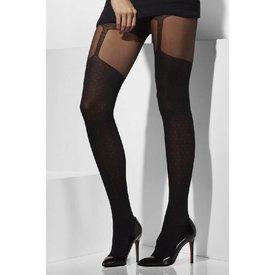 Fever/Smiffys Sheer Suspender Print Tights - Black