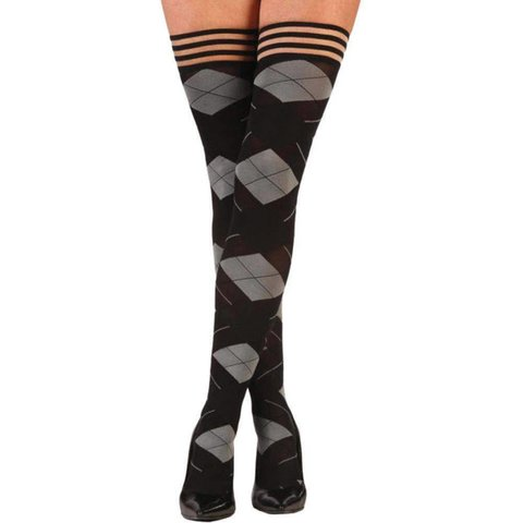 Kimmie Argyle Thigh Hi Stay-ups - Black/Gray