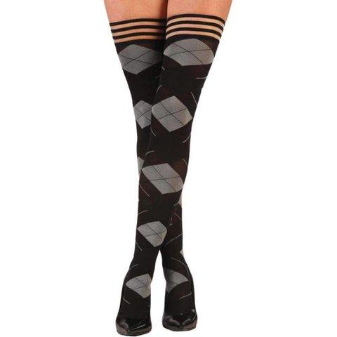 Kimmie Argyle Thigh Hi Stay-ups - Black/Gray