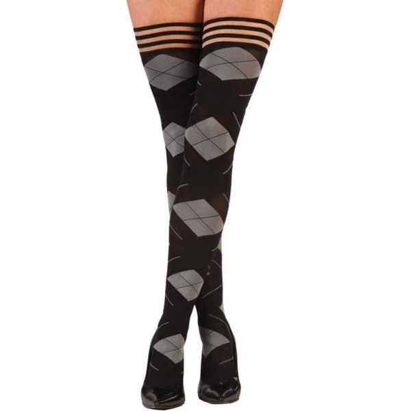 Kixies Kimmie Argyle Thigh Hi Stay-ups - Black/Gray